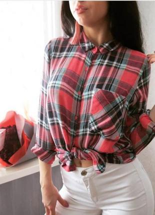 Рубашка в клетку тёплая с удлинением по спинке1 фото