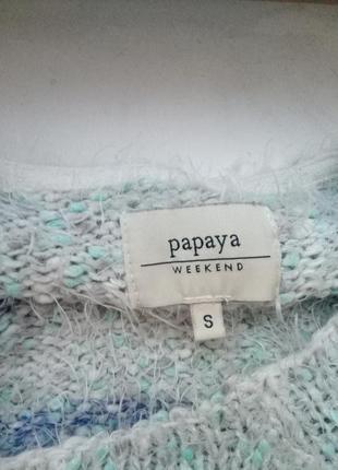 Теплая кофта свитер в полоску с травкой3