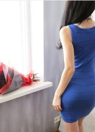 Платье тёплое цвета электрик. платье ярко синее под рубашку, блузу2