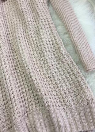 Розпродаж!!! теплий вязаний подовжений нюдовий світер з хомутом3