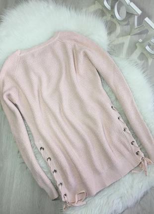 Розпродаж!!! теплий блідо рожевий світер зі шнуровкою по боках4 фото