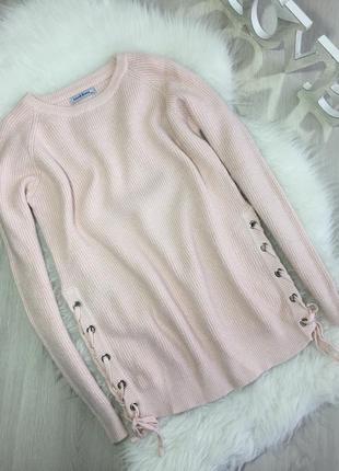 Розпродаж!!! теплий блідо рожевий світер зі шнуровкою по боках1 фото