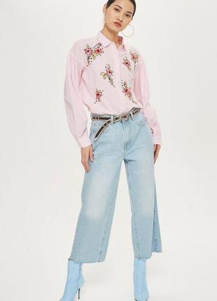 Рубашка с вышивкой oversized topshop (uk 6,р.xs)