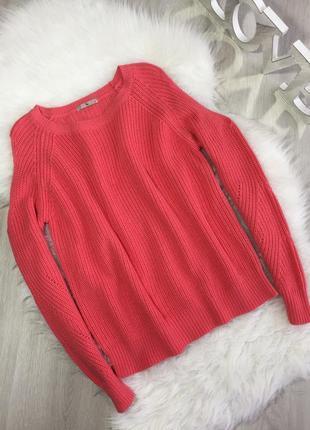 Розпродаж!!! теплий вязаний кораловий світер з розрізами на рукавах