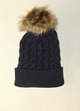 13-70 красивая вязаная шапка с помпоном3 фото