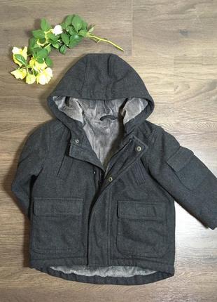 Тёплое пальто на мальчика / шерсть /до 90 см