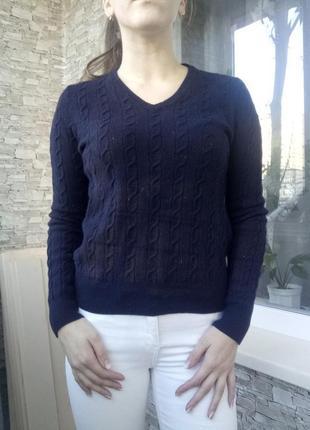Теплый шерстяной свитер кофта в косичку