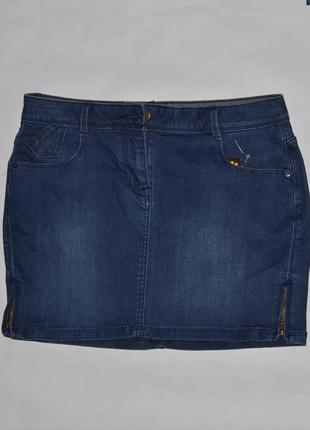 Джинсовая мини юбка с разрезами на змейке от jbc