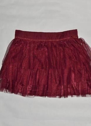 Бордовая нарядная фатиновая юбка с подкладкой от jbc