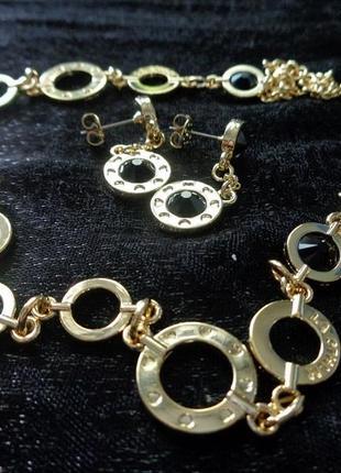 Набор - ожерелье с черными кристаллами сваровски + серьги