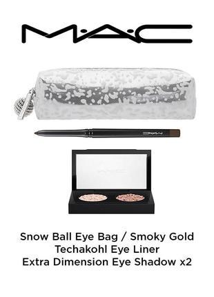 Набор mac snow ball bag (косметичка, тени для век, карандаш для глаз)