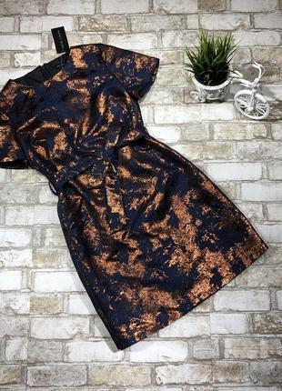 Нереальное жаккардовое платье вечернее с золотом, футляр бронза металлик,4 фото