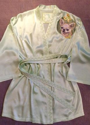 Очень красивый шелковый халат с ручной росписью