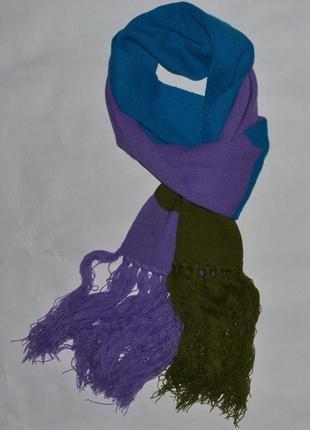 Теплый разноцветный шарф с бахромой от jbc