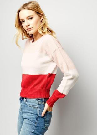 Стильный вязаный свитер тёплый, нежный джемпер полосатый1 фото