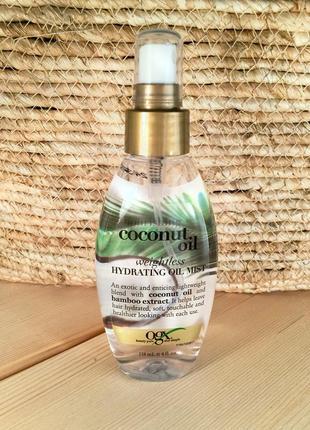 Масло-спрей для волос ogx coconut milk weightless hydrating oil mist -118ml.