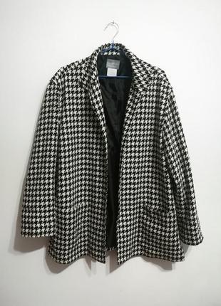 Шерстяной жакет пальто, принт гусиная лапка, премиум бренд jaclyn smith, xxxl1 фото