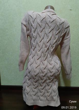 Вязаное платье теплое3 фото