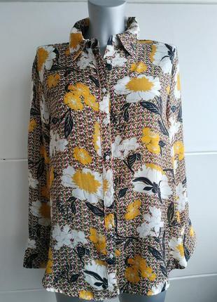 Красивая блуза zara с принтом красивых цветов4 фото