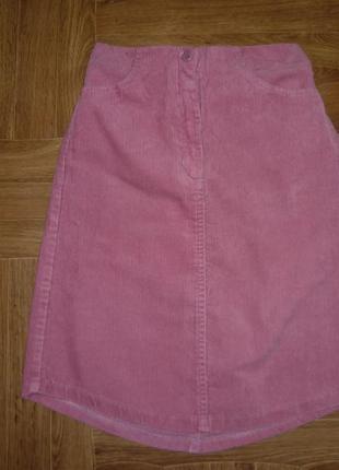 Модная вельветовая юбка весна-осень,удлиненная сзади и впереди,пояс-резинка