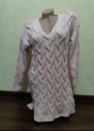 Теплое вязаное платье1