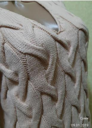 Теплое вязаное платье4