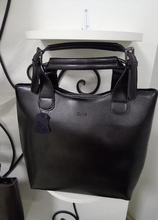 Деловая кожаная сумка,сумка-шоппер,черная,натуральная кожа,стильная,качественная