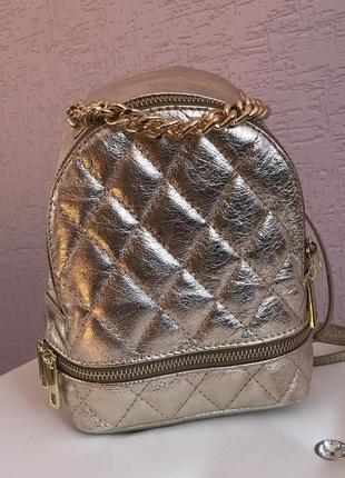 Кожаный мини-рюкзачок в стиле chanel.