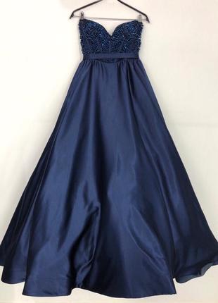 Вечернее платье на выпускной sherry hill шери хилл оригинал синее с камнями с пышной юбкой