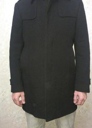 Пальто мужское черное шерстяное esprit