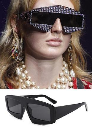 Чёрные оверсайз очки в стиле 3d (большие, крупные, массивные, зд, sci-fi, скай фай)