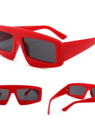Красные оверсайз очки в стиле 3d (большие, крупные, массивные, зд, sci-fi, скай фай)
