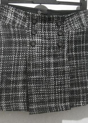 Юбка короткая мини mexx шерстяная серая с пуговицами шерсть акрил тёплая зимняя