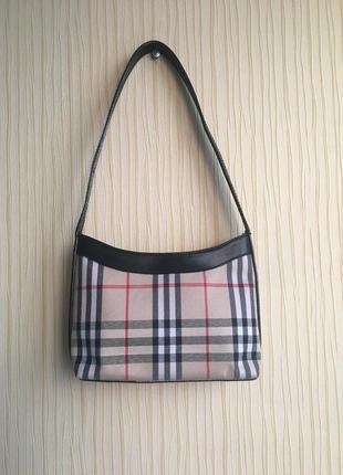 Оригинал винтажная сумка burberry в клетку на плечо небольшая3 фото