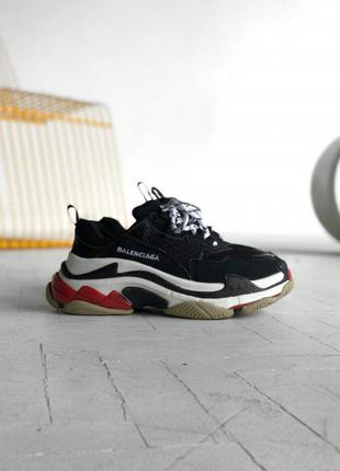 Кроссовки balenciaga triple s black red