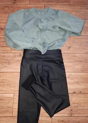 Новые утепленные кожаные лосины на талии  зима леггинсы на флис теплые
