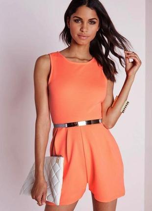 Оранжевый неоновый ребристый ромпер комбинезон с шортами + подарок!