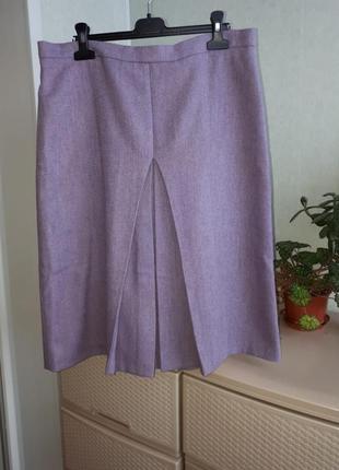 Теплая шерстяная юбка со встречными складками плиссе с подкладкой