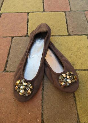 Туфли балетки замша super moda 38-39 размер