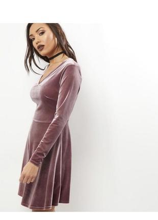 Нереальное нежное велюровое платье, длинный рукав, юбка клёш,