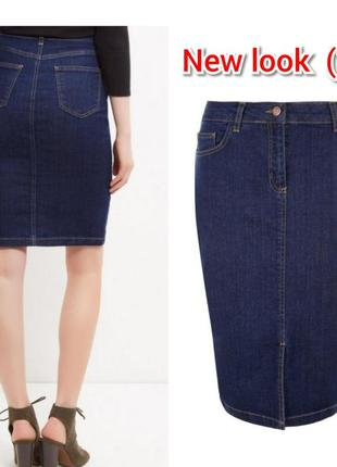 Джинсовая юбка карандаш new look ( 16 размер)