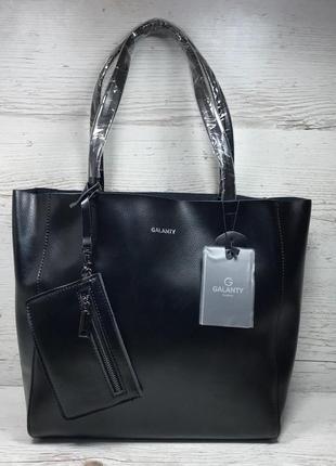 Женская кожаная сумка черная шоппер жіноча шкіряна сумка чорна