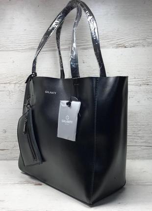 Женская кожаная сумка черная шоппер жіноча шкіряна сумка чорна2 фото