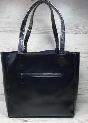 Женская кожаная сумка черная шоппер жіноча шкіряна сумка чорна3 фото