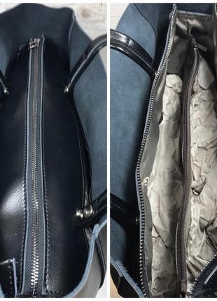 Женская кожаная сумка черная шоппер жіноча шкіряна сумка чорна4 фото