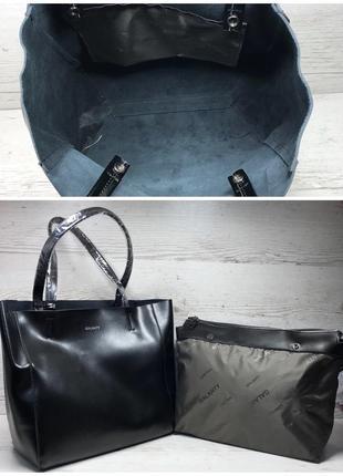 Женская кожаная сумка черная шоппер жіноча шкіряна сумка чорна5 фото