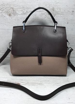 Женская кожаная сумка коричневая серая черная жіноча шкіряна сумка чорна сіра коричнева