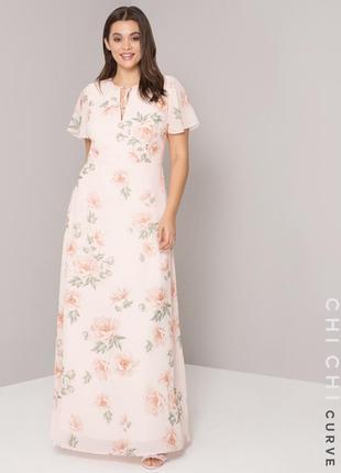 Нежное макси платье в цветочный принт 24/52 chi chi london