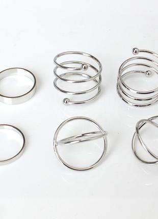 Набор колец на пальцы и фаланги завитки 6 штук серебристые2 фото