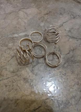 Набор колец на пальцы и фаланги завитки 6 штук серебристые4 фото